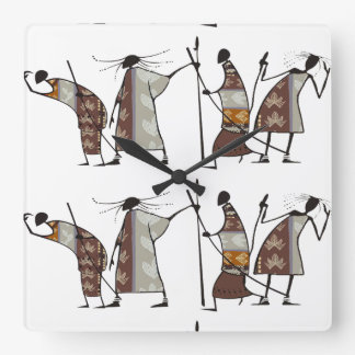 African Tribal Hunters Square Wall Clock