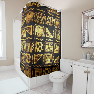 African Tribal Mud Cloth Graphic  In Gold