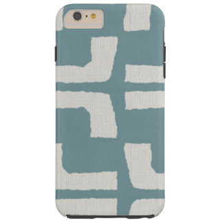 African Tribal Mudcloth White Blue Linen Look Tough iPhone 6 Plus Case