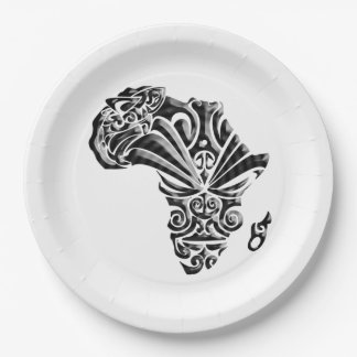 African Tribal Pattern BHM Party Paper Plates