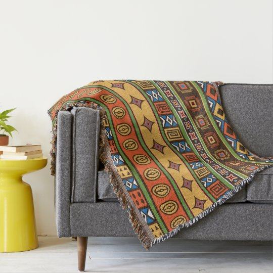 African Tribal pattern home office decor Throw Blanket