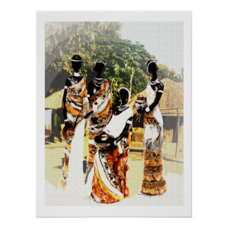 African Tribal Village Women Poster