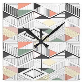 African vector striped chevron square wall clock