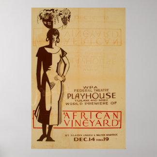 African Vineyard 1938 WPA Vintage Poster