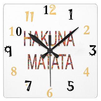 African Vintage Colors Hakuna Matata gift large Square Wall Clock