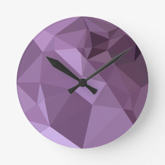 African Violet Abstract Low Polygon Background Wall Clocks