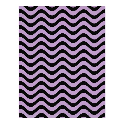 African Violet And Black Waves Graphic Art Pattern Personalized Letterhead