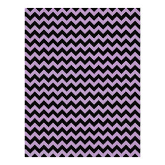 African Violet And Black Zigzag Chevron Personalized Letterhead