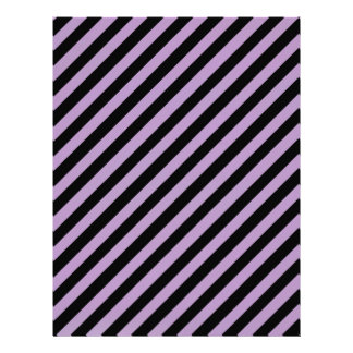 African Violet And Oblique Black Stripes Patterns Customized Letterhead