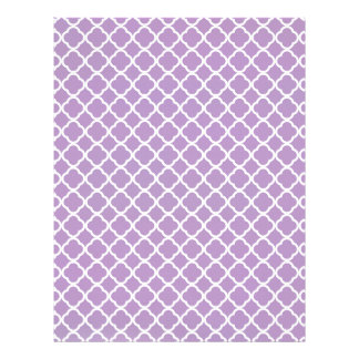 African Violet And White Quatrefoil Pattern Personalized Letterhead