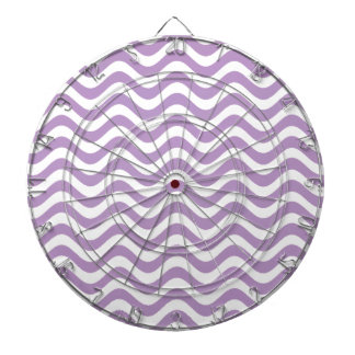 African Violet And White Waves Graphic Art Pattern Dartboard