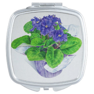 African Violet Compact Mirrors