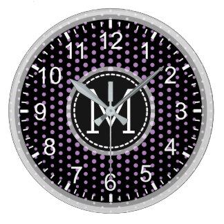 African Violet Polka Dots Modern Monogram Large Clock