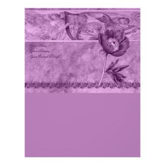 African Violet Poppy Customized Letterhead