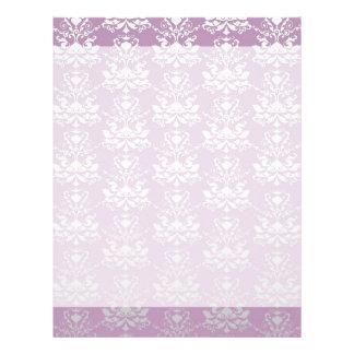 African Violet & Silver Damask Print Custom Letterhead