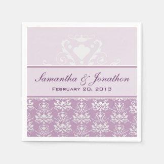 African Violet & Silver Damask Wedding Paper Napkins
