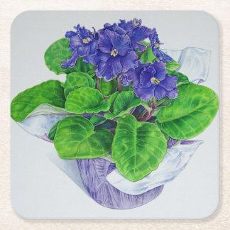 African Violet Square Paper Coaster