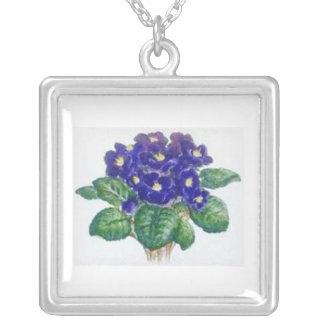 African Violets Necklace