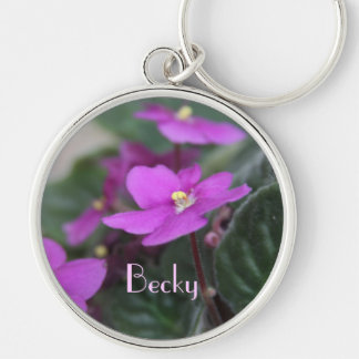 African Violets Personalized Keychain