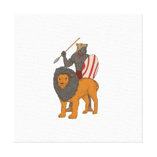 African Warrior Spear Hunting With Lion Drawing Canvas Print