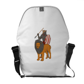 African Warrior Spear Hunting With Lion Drawing Commuter Bags
