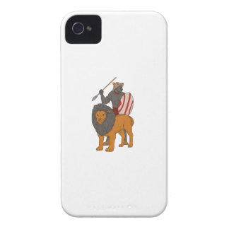 African Warrior Spear Hunting With Lion Drawing iPhone 4 Cases
