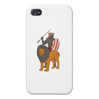African Warrior Spear Hunting With Lion Drawing iPhone 4 Covers