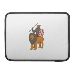 African Warrior Spear Hunting With Lion Drawing MacBook Pro Sleeve