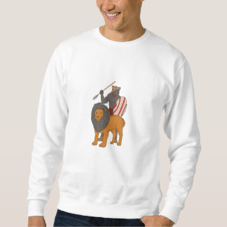 African Warrior Spear Hunting With Lion Drawing Sweatshirt