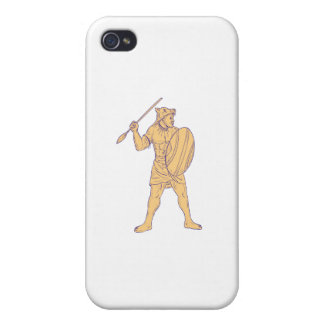 African Warrior Wolf Mask Spear Drawing Cases For iPhone 4