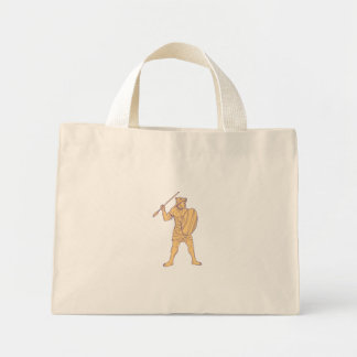 African Warrior Wolf Mask Spear Drawing Mini Tote Bag