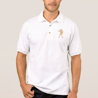 African Warrior Wolf Mask Spear Drawing Polo Shirt