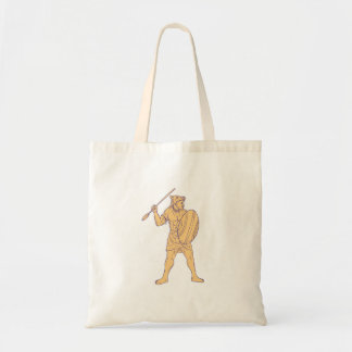 African Warrior Wolf Mask Spear Drawing Tote Bag