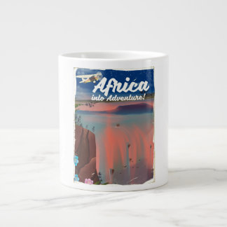 African Waterfall Adventure poster Large Coffee Mug