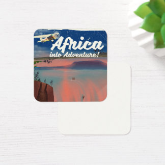 African Waterfall Adventure poster Square Business Card