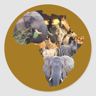 African Wildlife Continent Sticker