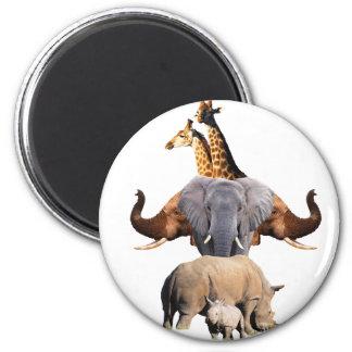 African Wildlife Totem 2 Inch Round Magnet