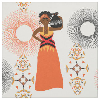 African Woman Carrying Water Themed Print Fabric