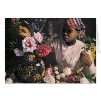 African Woman Planting Flowers in a Vase Card