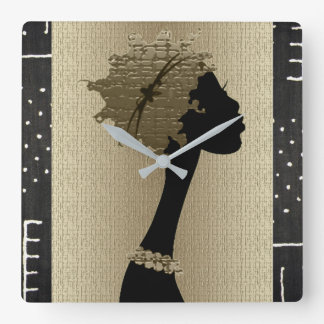 African Woman Square Wall Clock