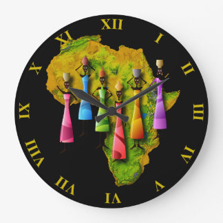 African Women In Colorful Dresses On Africa Map Large Clock