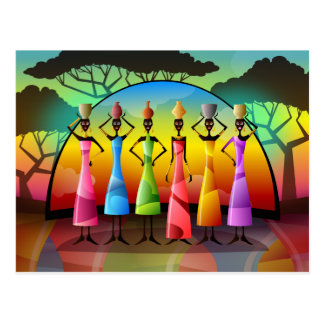African Women With Vessels Postcard