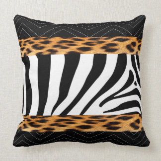 African  Zebra and Leopard Print Throw Pillow