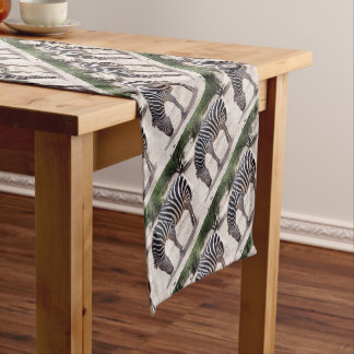 African zebra at the zoo short table runner