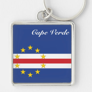 Africankoko Custom Collection(Cape Verde) Silver-Colored Square Keychain