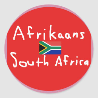Afrikaans South Africa Language And Flag Classic Round Sticker