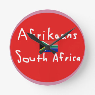 Afrikaans South Africa Language And Flag Round Clock
