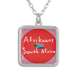 Afrikaans South Africa Language And Flag Silver Plated Necklace
