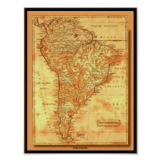 AfriMex Urbano Old World Map South America Poster