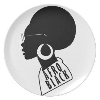 AFRO African American Black gift t shirt Plate